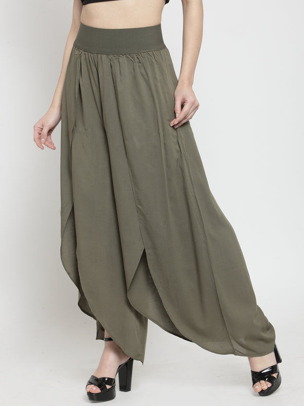 Women Solid Green Plazo With Tulip Hem