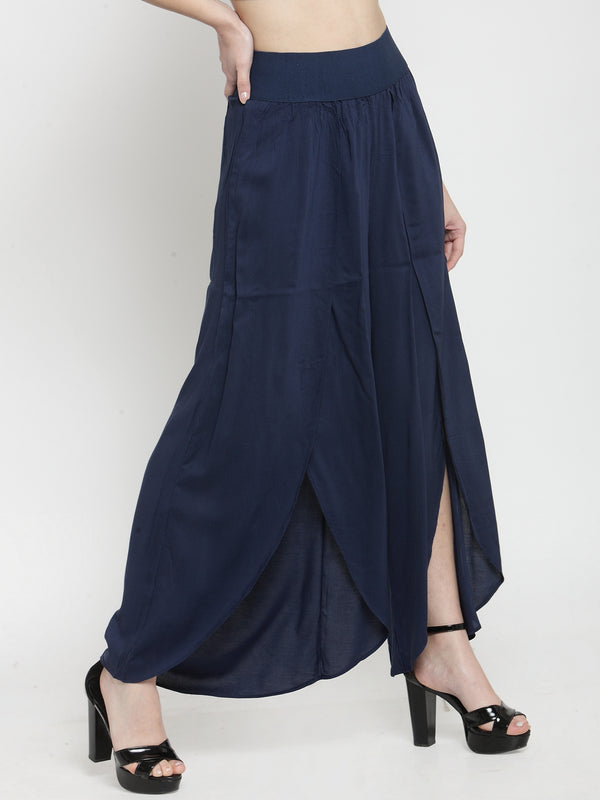 Women Solid Navy Blue Plazo With Tulip Hem