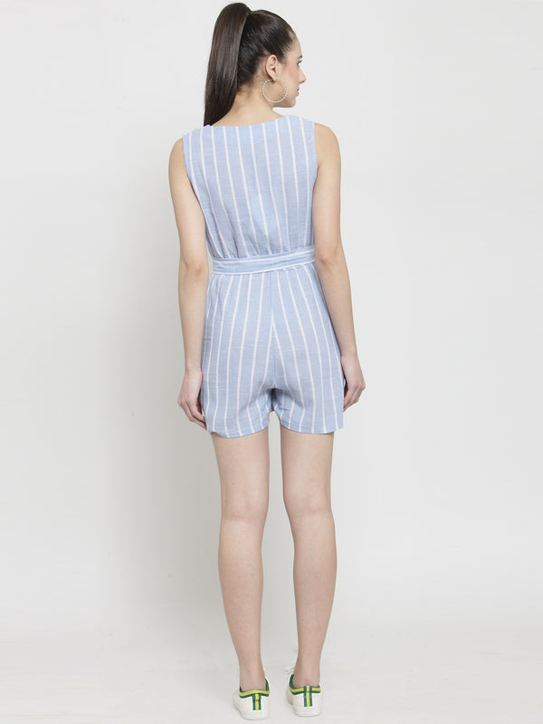 Women Blue Striped V-Neck Playsuit