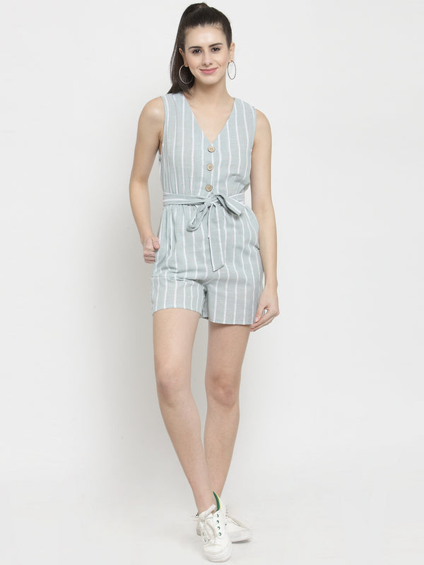 Women Green Striped V-Neck Playsuit