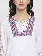 Women Embroidered White Tie-Up Neckline Top