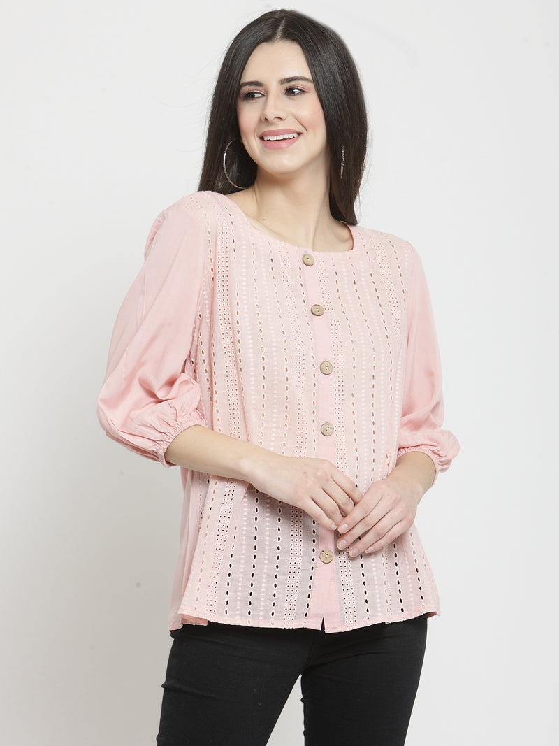Women Pink Solid Square Neck Tops With Eyelet Embroidery