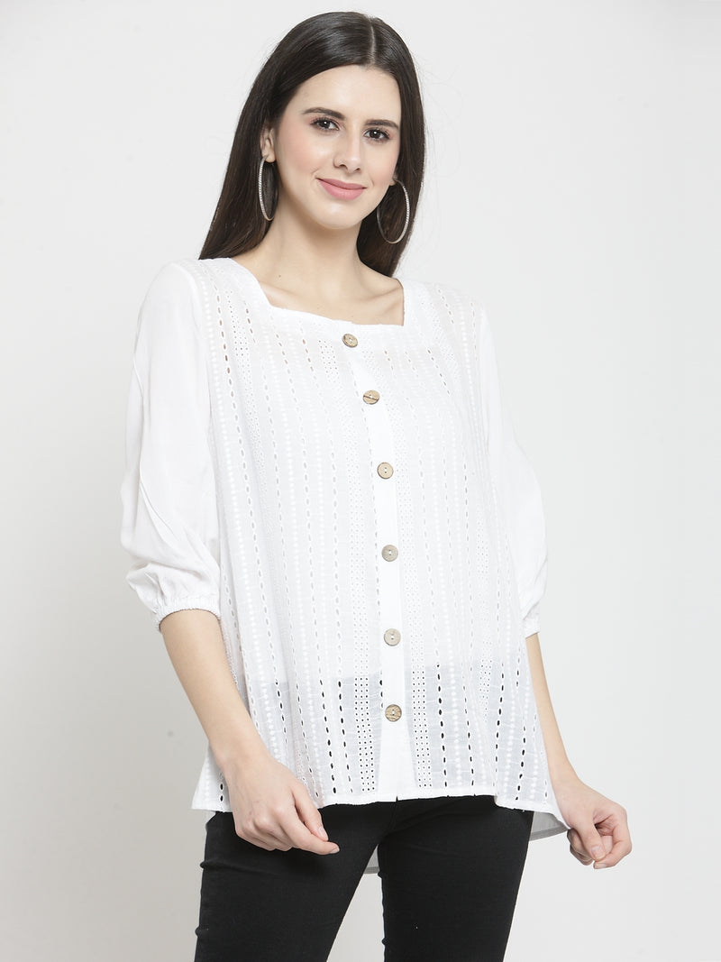 Women White  Solid Square Neck Tops With Eyelet Embroidery