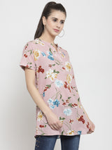 Women Pink Printed Long Mandarin Collar Top