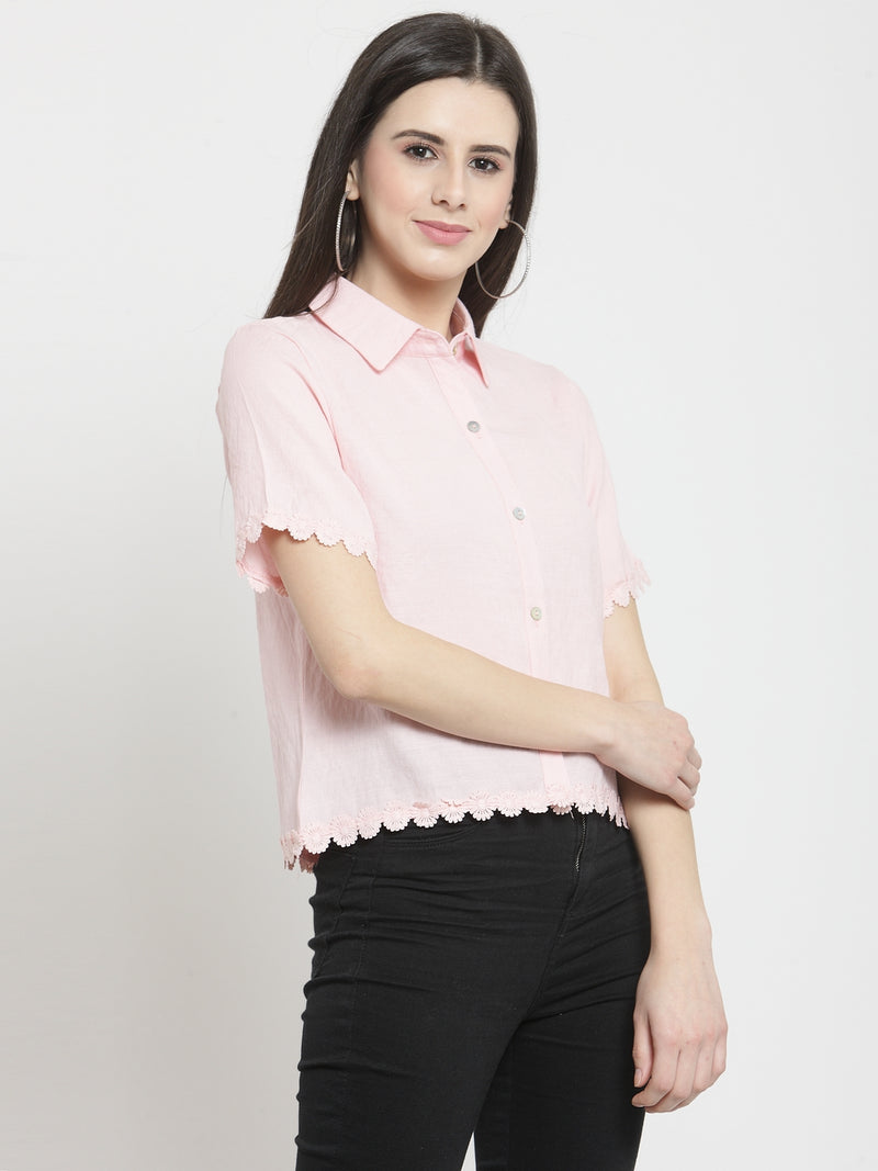 Women Solid Pink Shirt With Floral Hemline