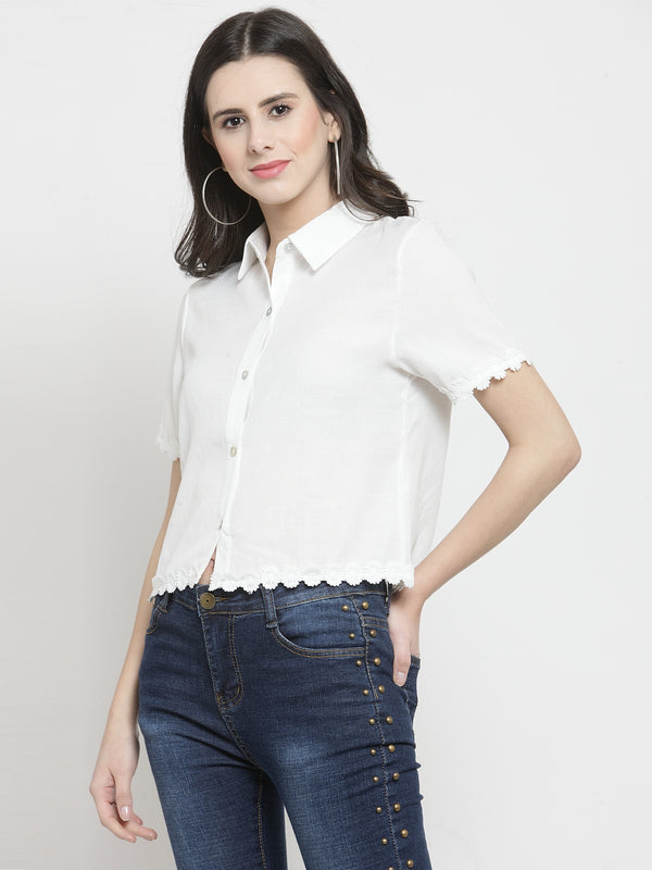 Women Solid White Shirt With Floral Hemline
