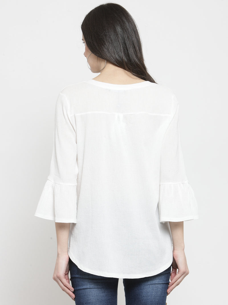 Women Off-White Viscose Rayon Solid Top