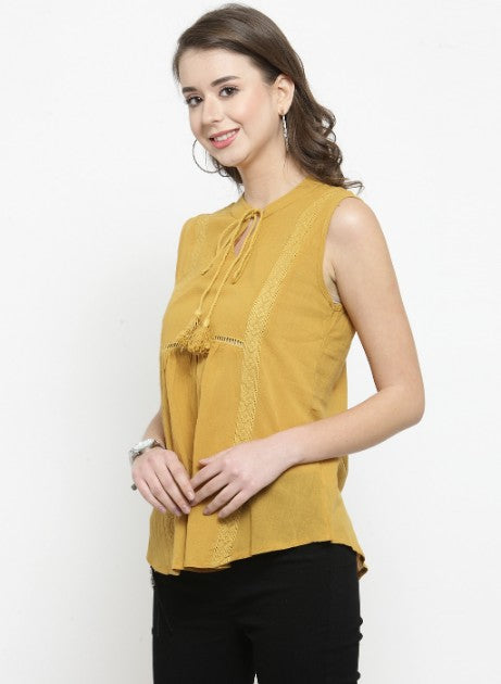 Women Mustard Solid Round Neck Top With Tie-Up Keyhole