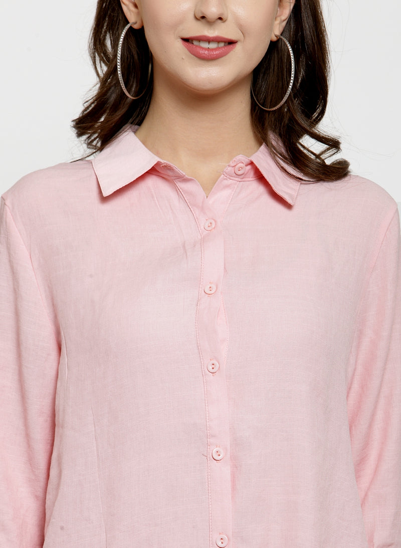 Women Plain Pink And White Combo Of 2 Collar Shirt