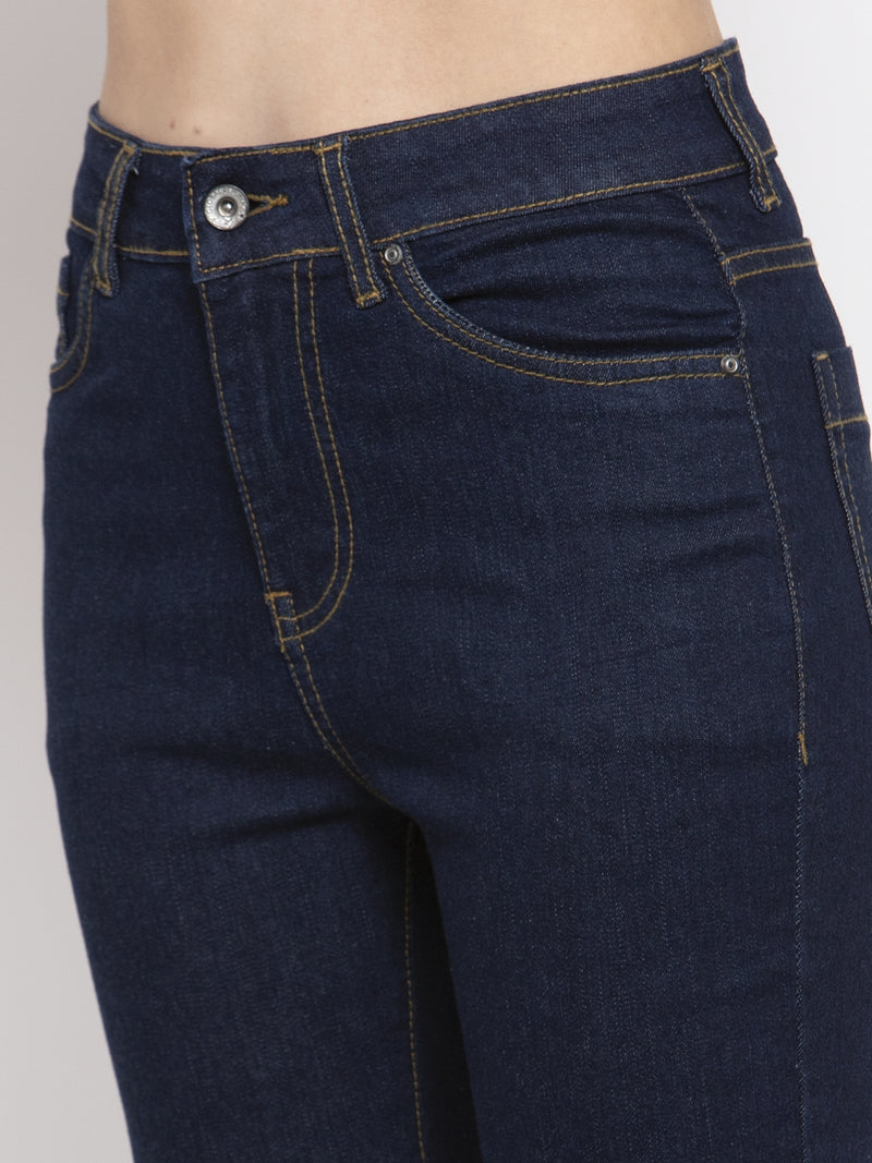 Women Solid Navy Blue Denim Jeans