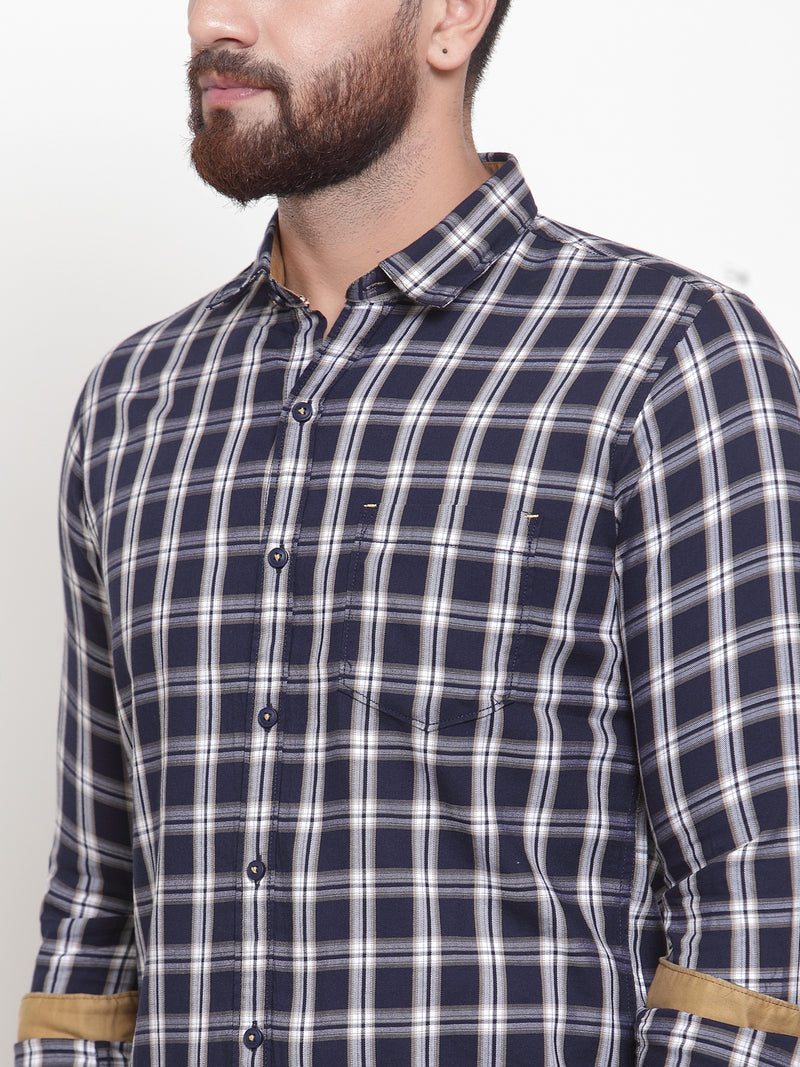 Men Navy Blue & Off-White Checked Casual Shirt