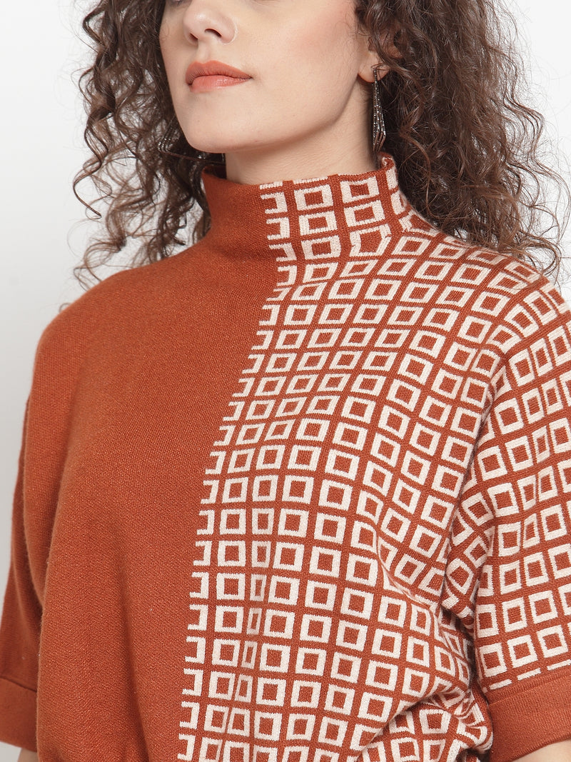 Women Rust Brown & Off-White Self Design Pullover Sweater