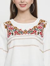 Women Yellow Regular Fitted Top With Floral Embroidery