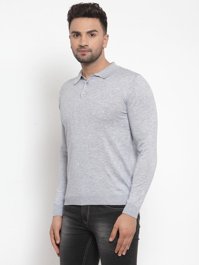 Mens Solid Blue Collar Neck Pullover