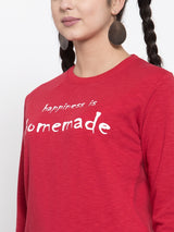 Women Printed Red Round Neck Sweatshirt