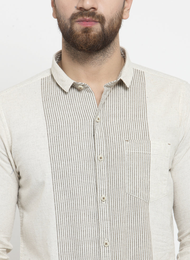 Men Striped Shirt With Natural Texture