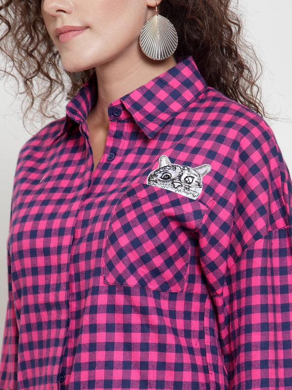 Women Pink Checked Shirt With Embroidered Cat