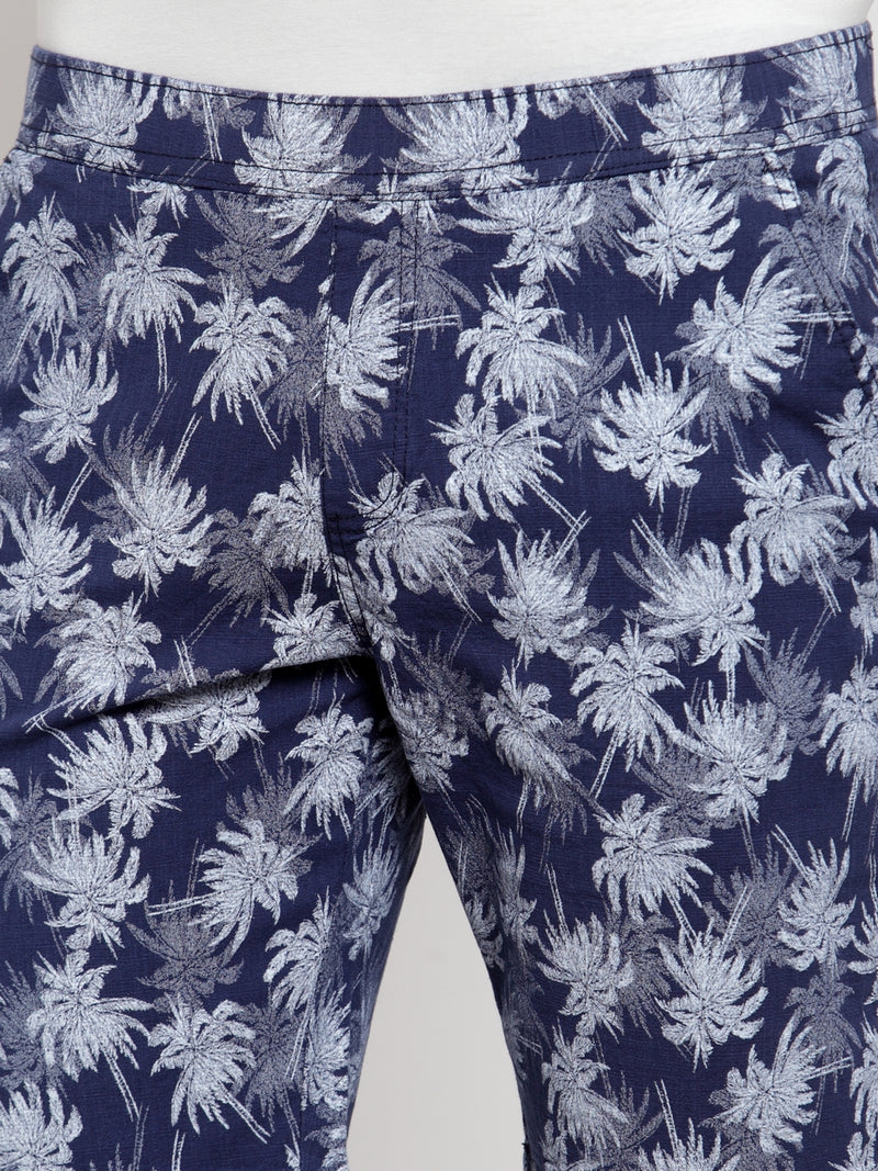 Mens Navy Blue Cotton Linen Printed Short