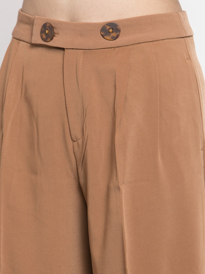 Women Solid Rust Plazo With Button Detail