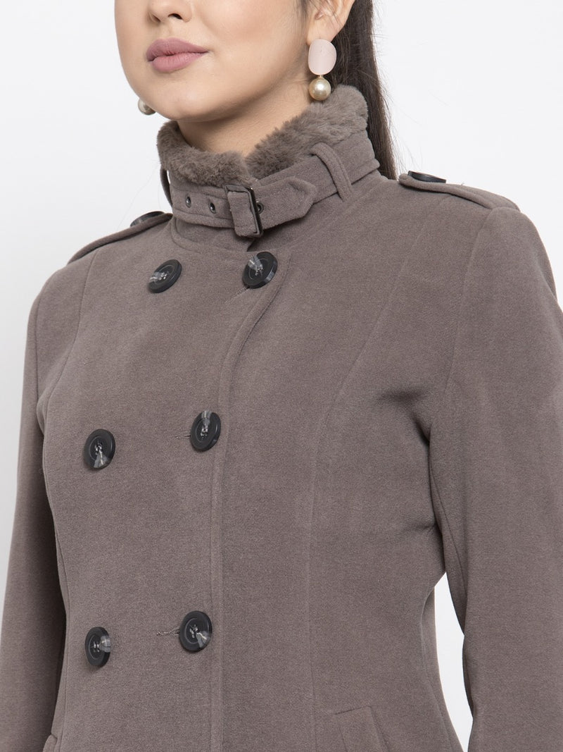 Women Solid Grey Double-Breasted Coat