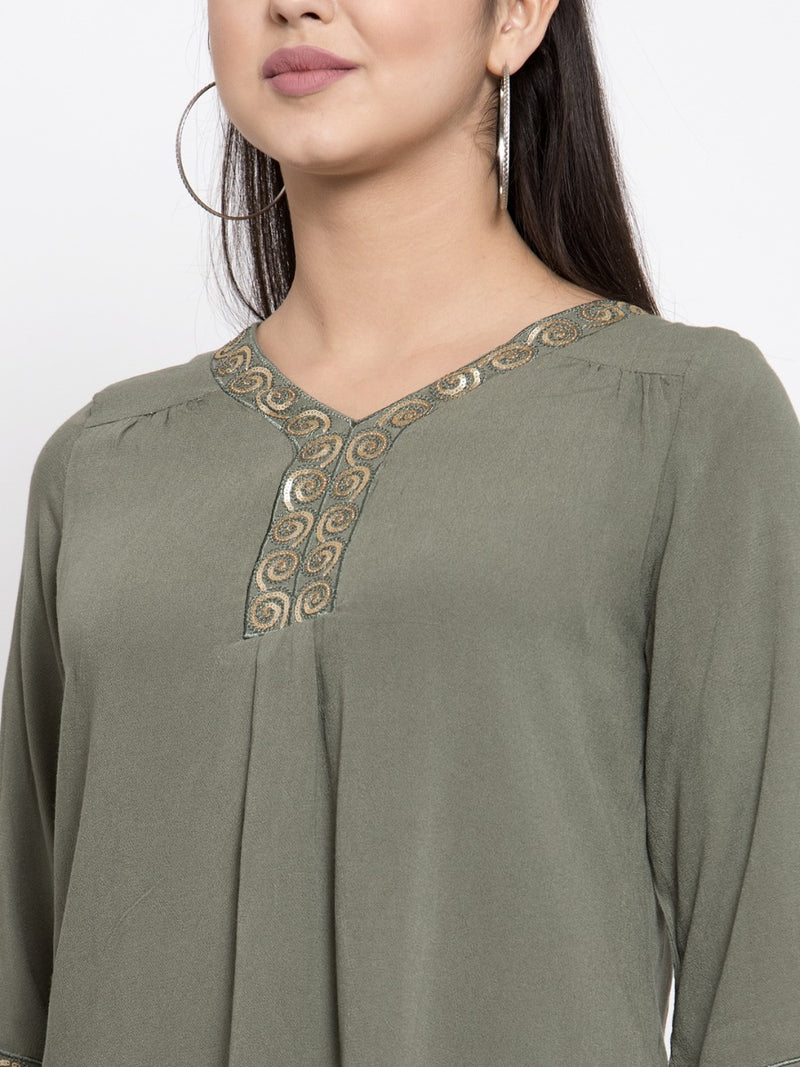 Women Green A-Line Top With Embroidery Details