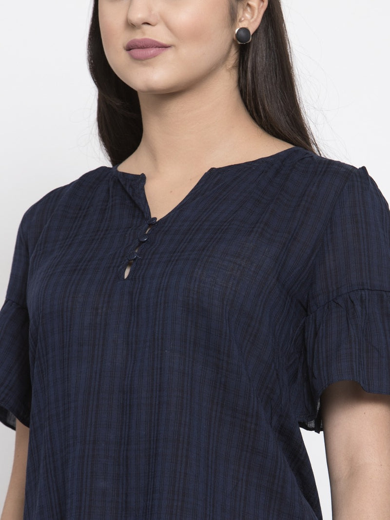 Women Navy Blue Checked Top With Flounce Sleeve