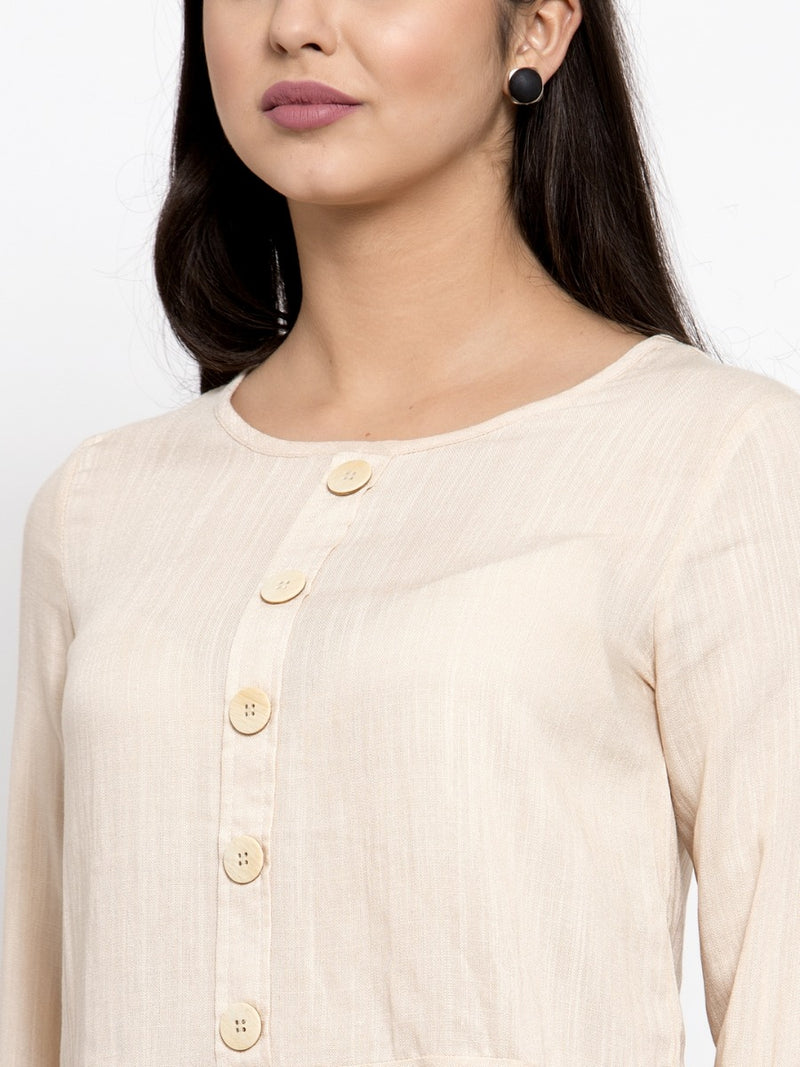 Women Beige Drop-Waist Top With Quarter Sleeves