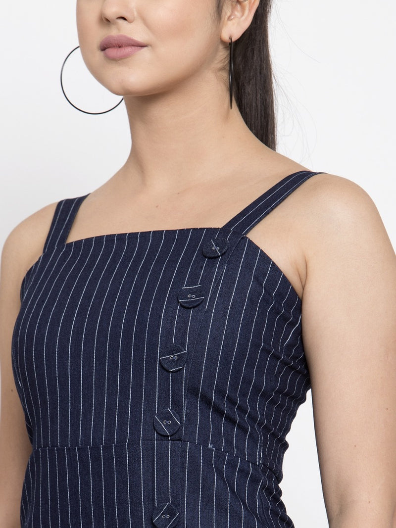 Women Striped Blue Square Neck Dress