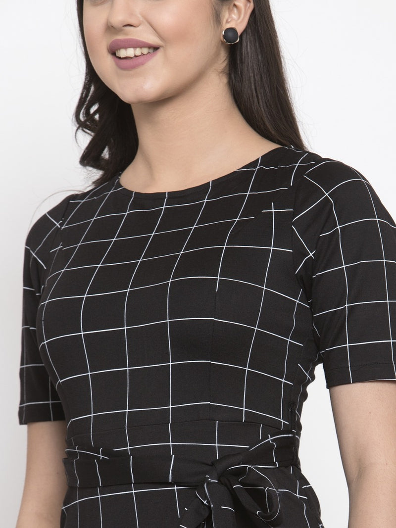 Women Checked Black Round Neck Bodycon Dress