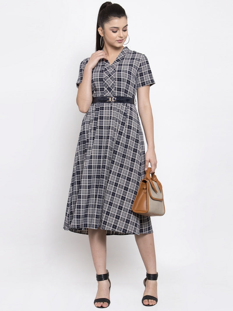Women Navy White Checked A-Line Dress