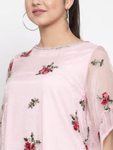 Women Pink Top With Embroidered Net Layer