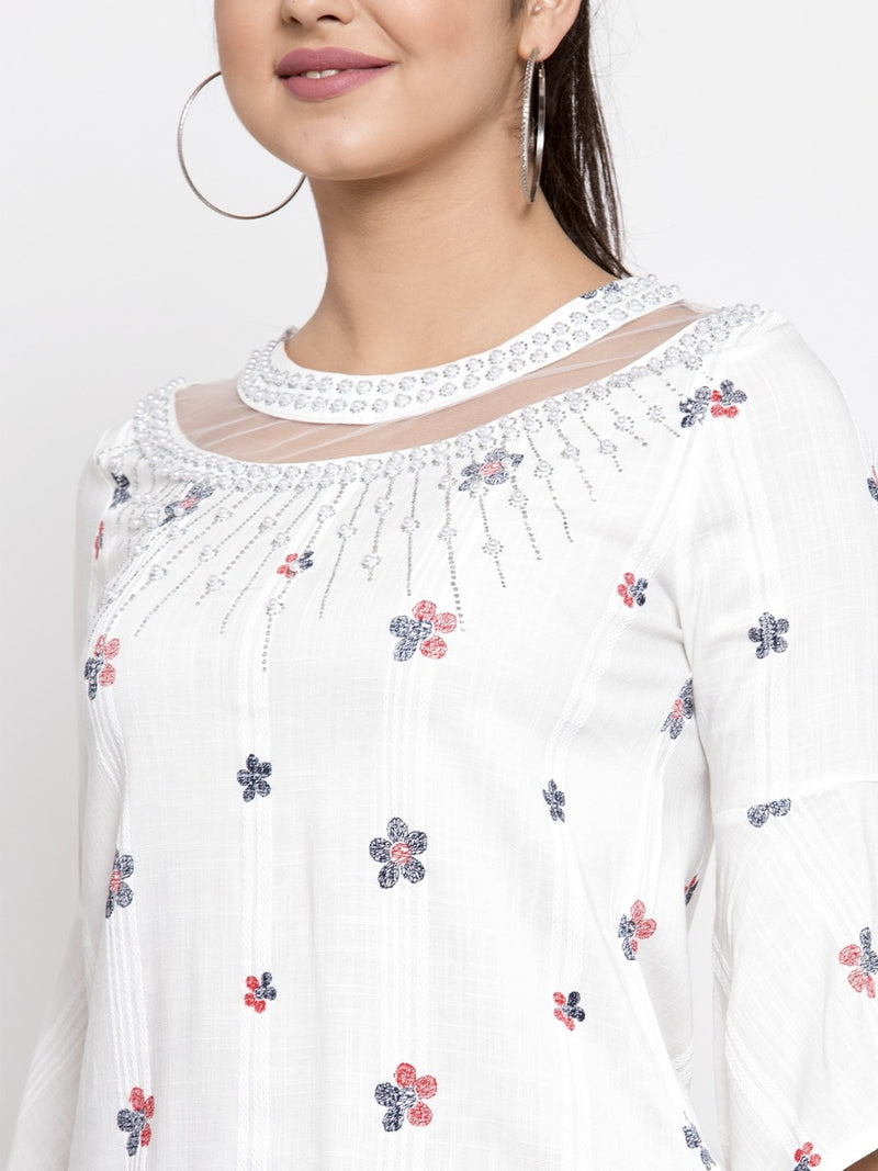 Women White Embroidered Top With Net Detail