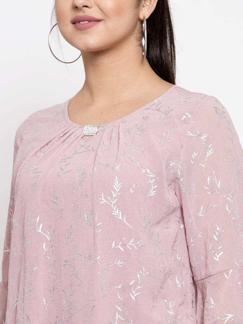 Women Pink Top With Foil Printing