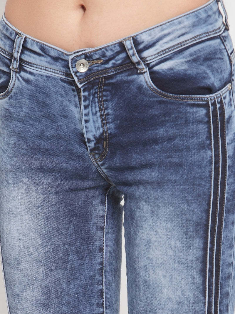 Women Blue Washed Denim Capri With Side Stripe