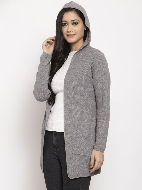 Women Grey Solid Shrug