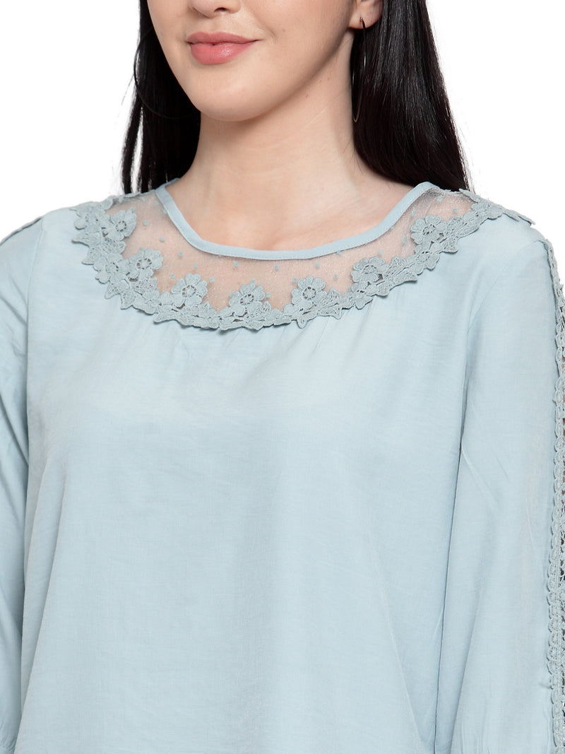 Women Mint Green Crepe Blouse With Lace Detail