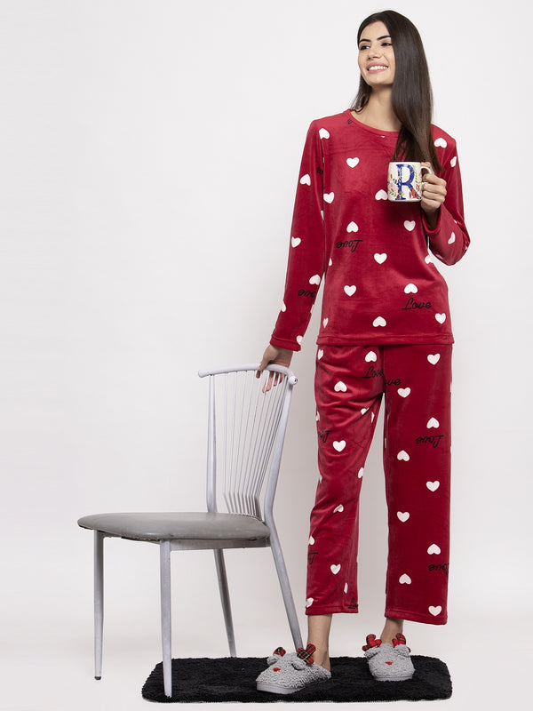 Women Maroon Printed Round Neck Night Suit