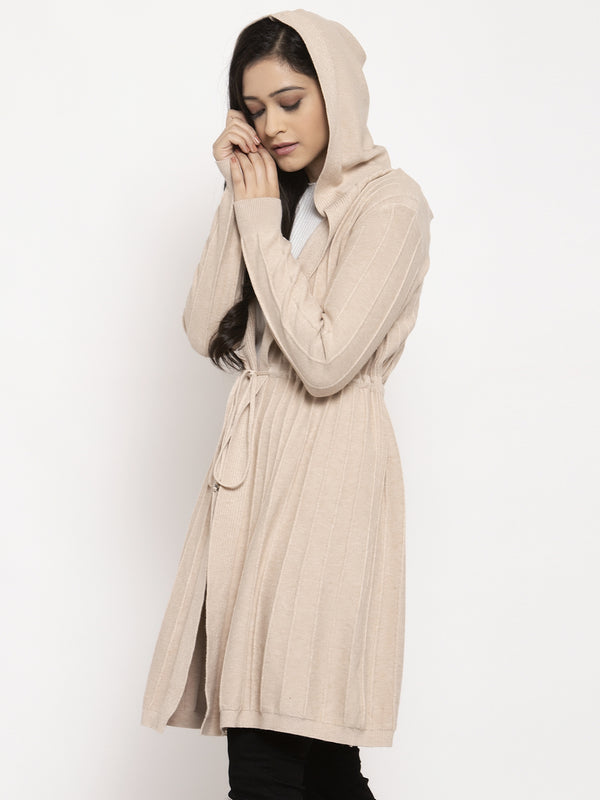 Women Beige Solid Shrug
