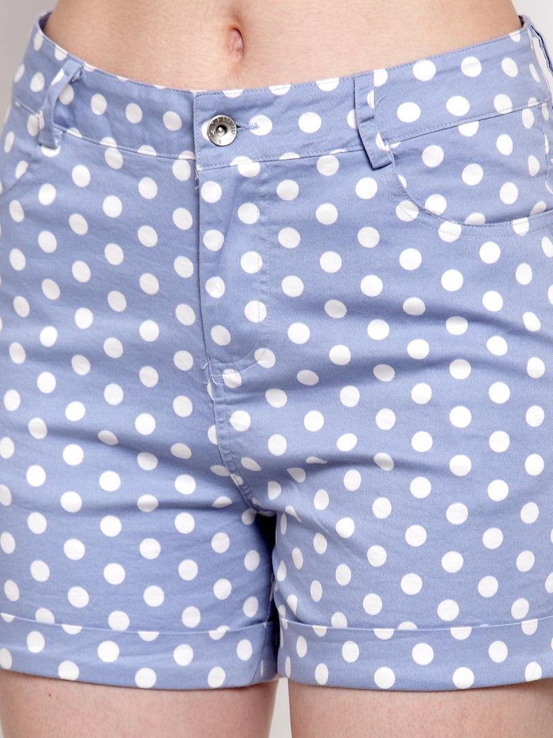 Women Blue Cotton Polka Dots Mini Shorts