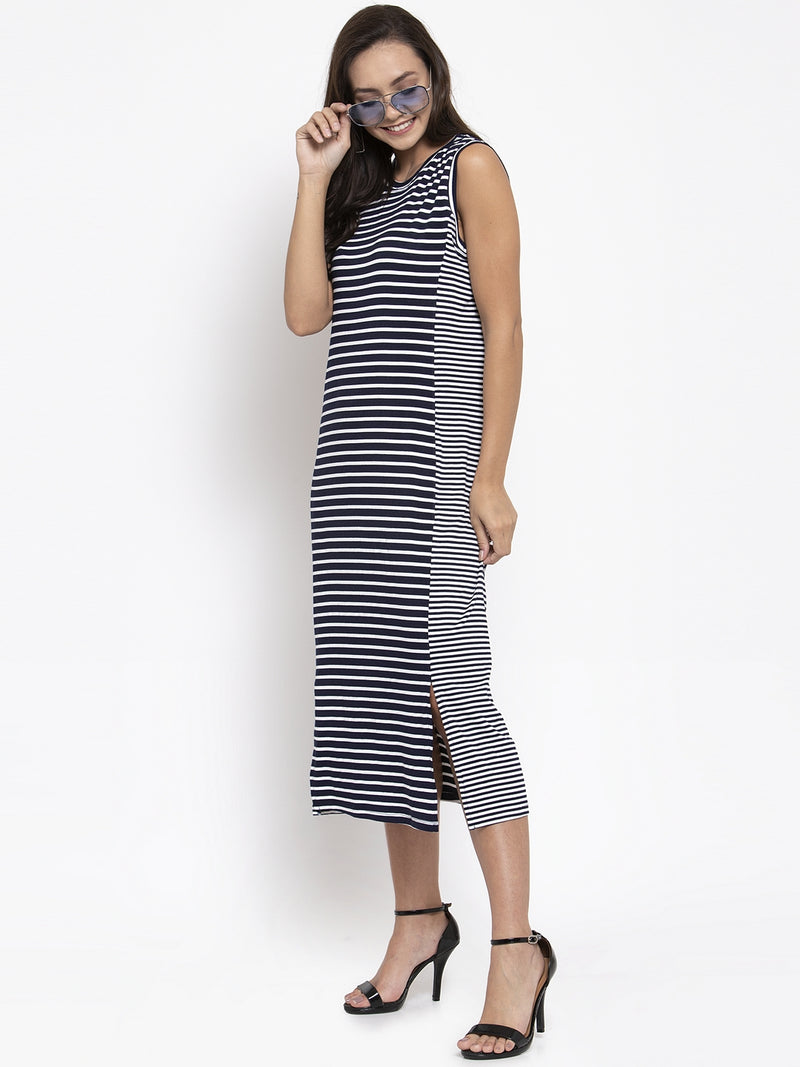 Women Navy Blue Striped Hosiery Dress
