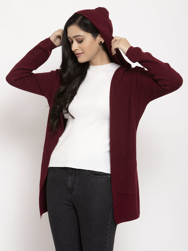 Women Red Solid Shrug