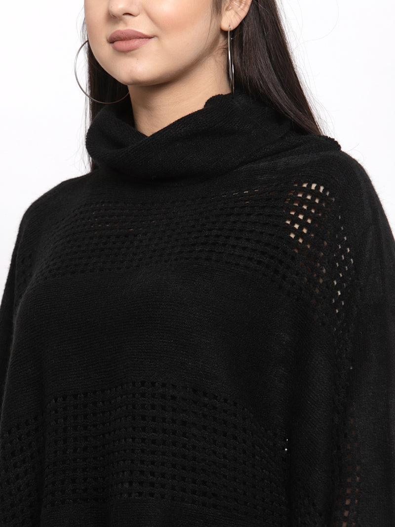 Women Solid Black Cowl Neck Ponchu