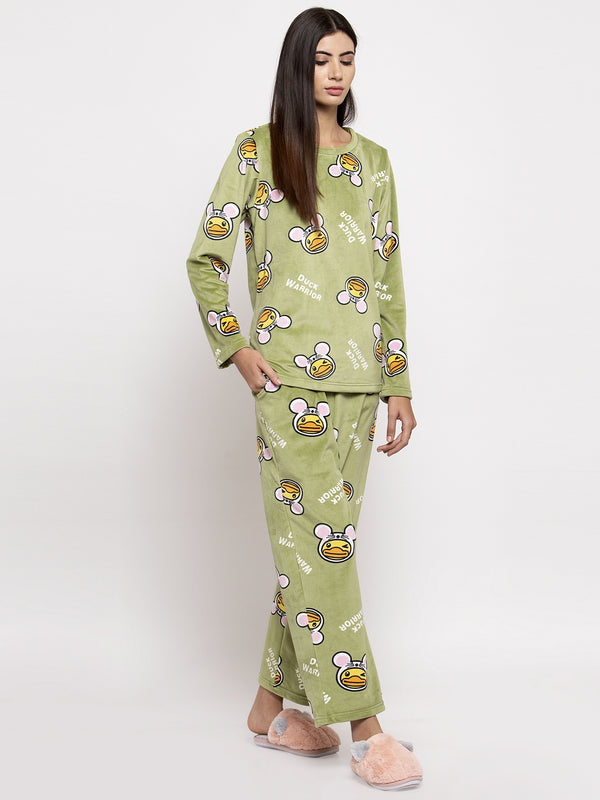 Women Green Printed Round Neck Night Suit