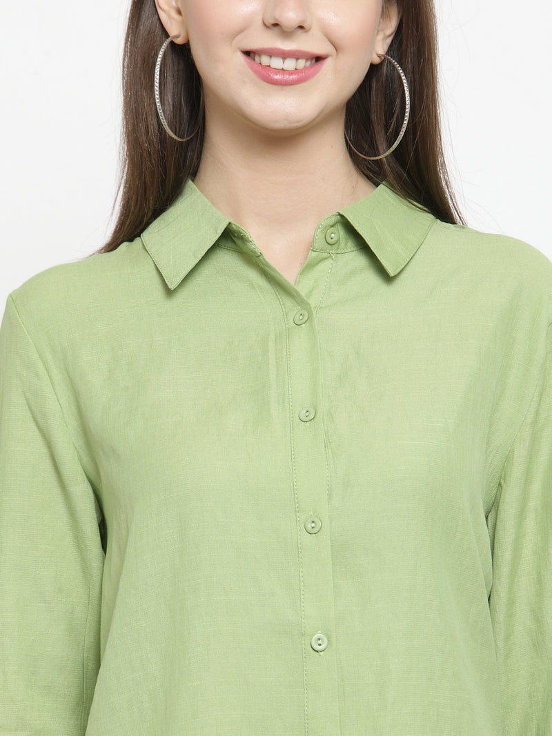 Women Lime Green Solid Cotton Shirt