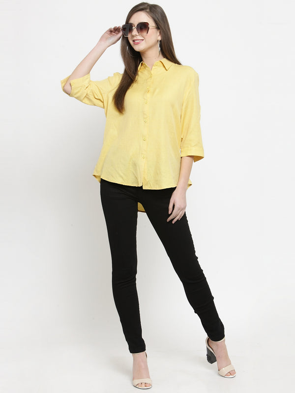 Women Yellow Solid Shirt Collar Relaxed Fit Shirt