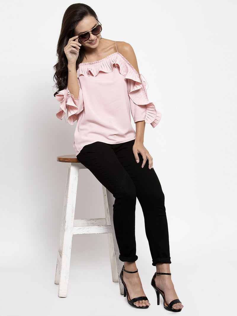 Women Solid Pink Off Shoulder Ruffle Sleeves Top