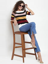 Women Striped White Half Sleeves Top