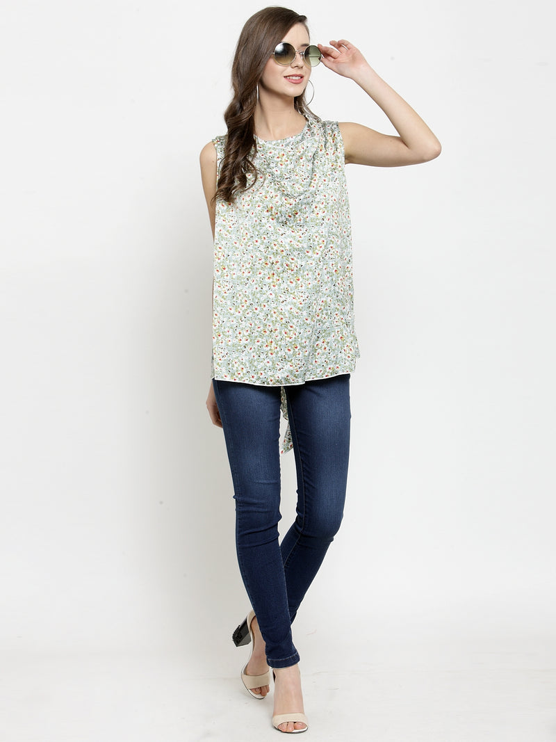 Women Green Floral Printed Poly-Crepe Top