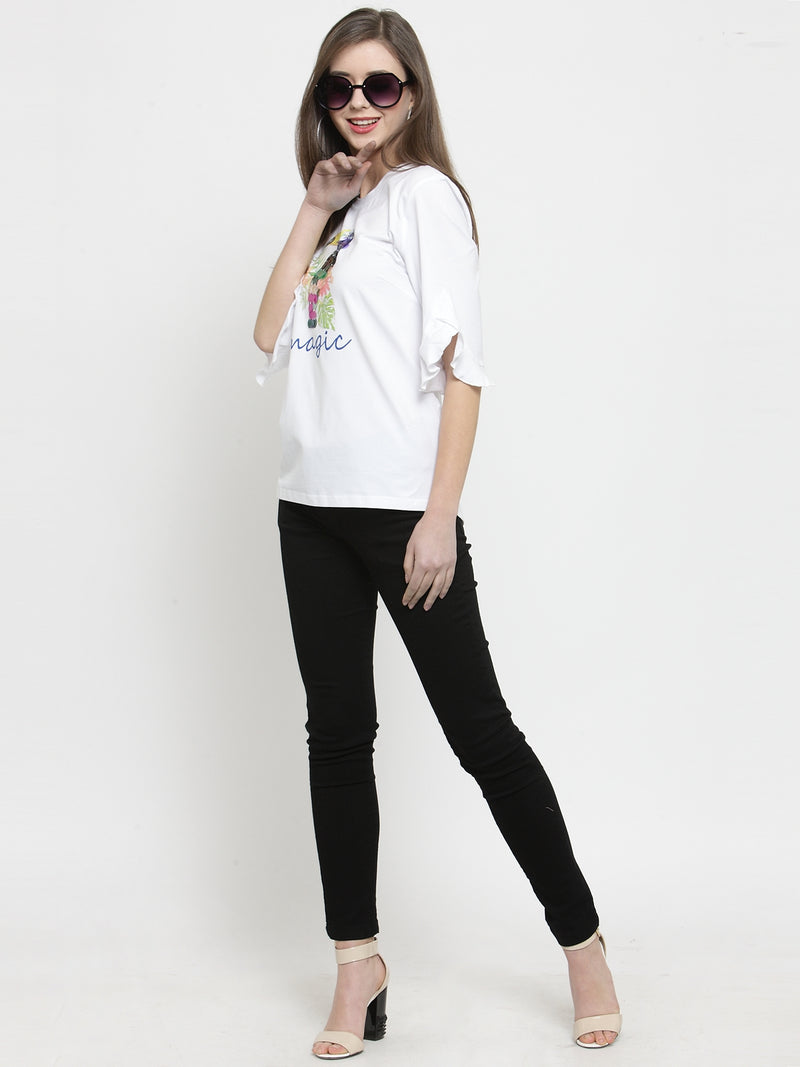 Women White  Round Neck Regular Fit Tops