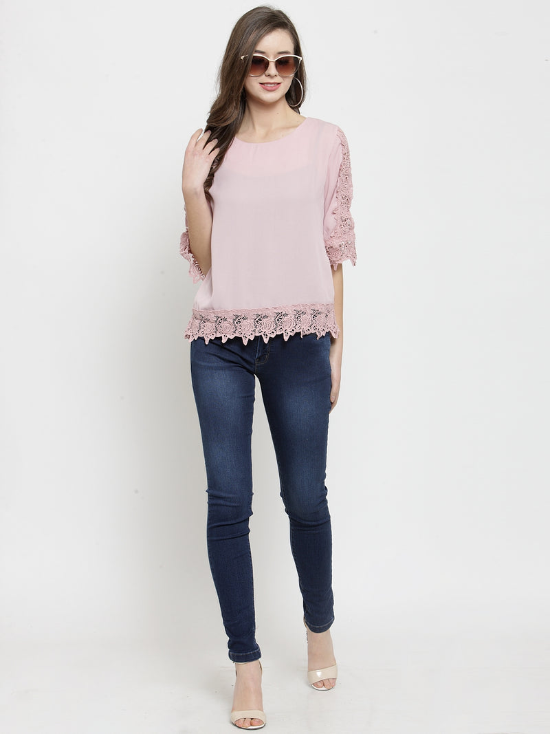 Women Pink Laced Polyester Top.